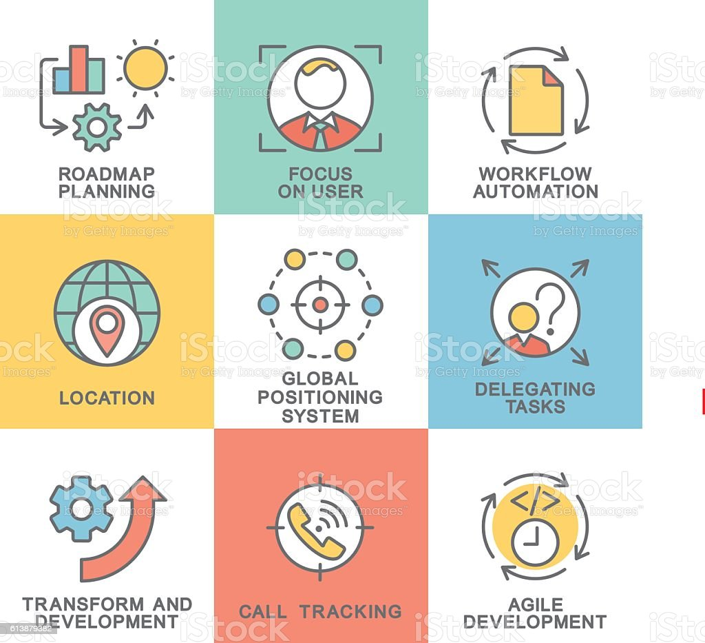 Modern contour icons business planning development and location. vector art illustration
