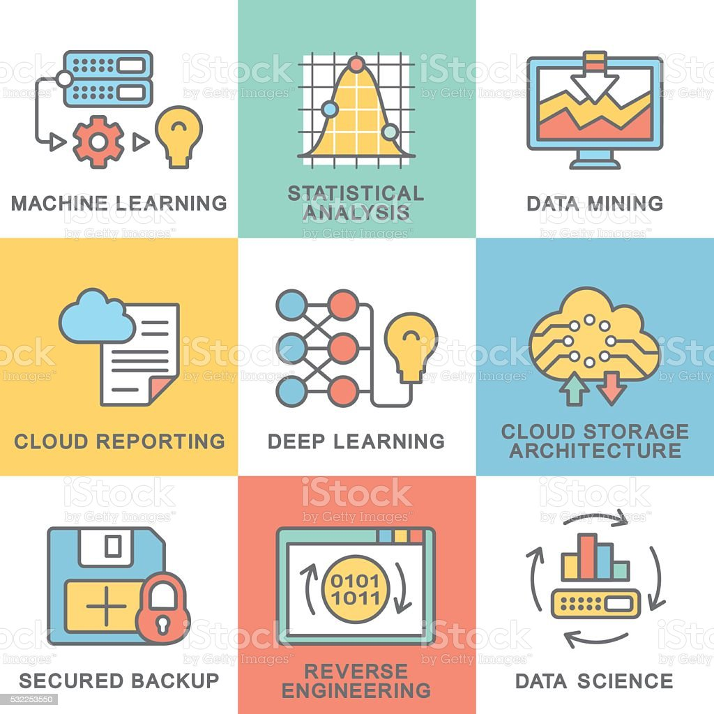 Modern contour icons of data science technology, machine learning process. vector art illustration
