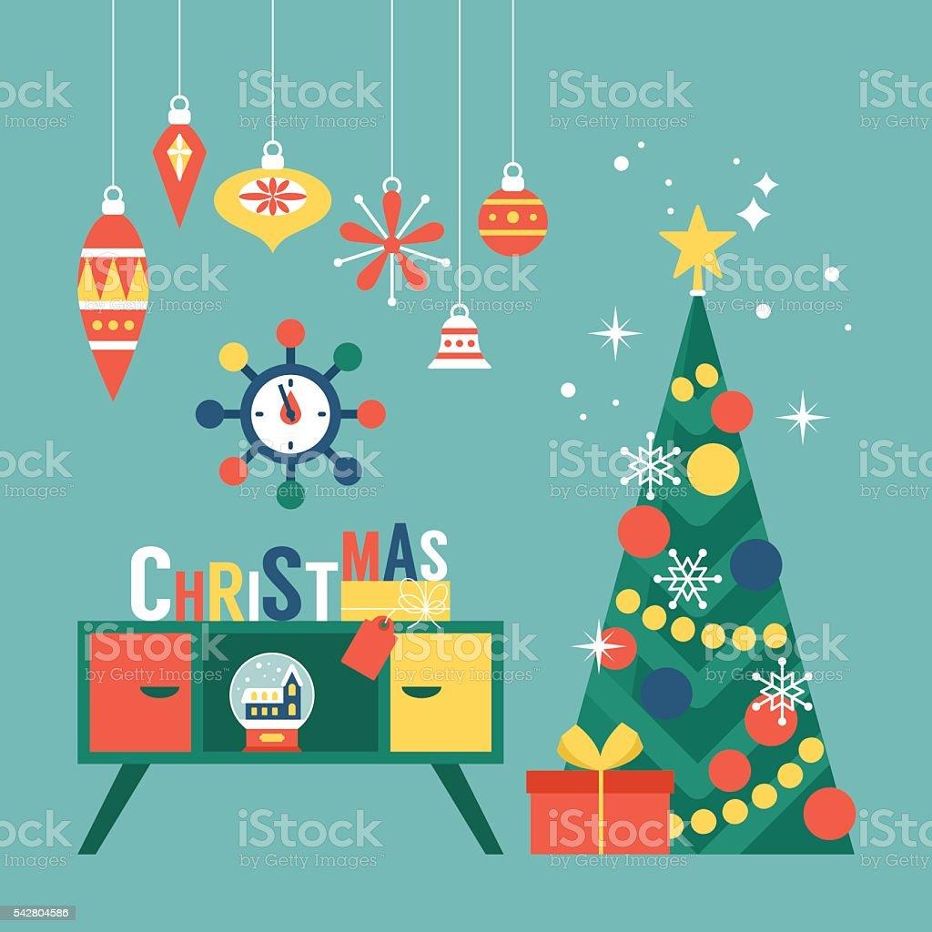 Modern creative Christmas greeting card design with Christmas tree vector art illustration
