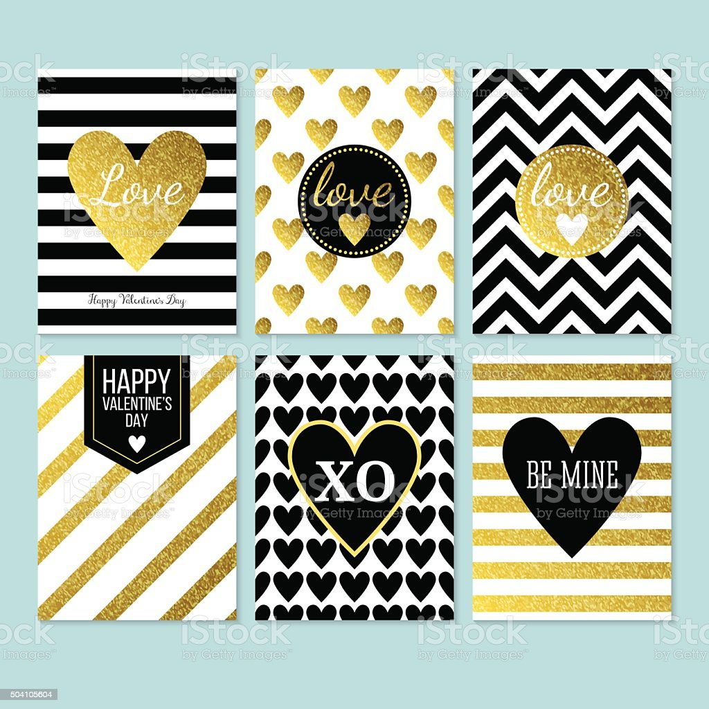 Modern creative Valentine's day cards in black, gold and white. vector art illustration