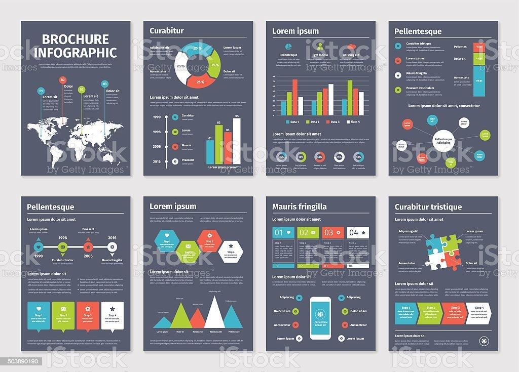 Modern dark business infographic brochure template vector art illustration