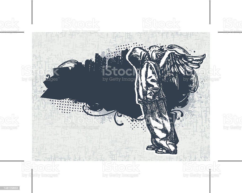 A modern day sketch of a man with angelic wings vector art illustration