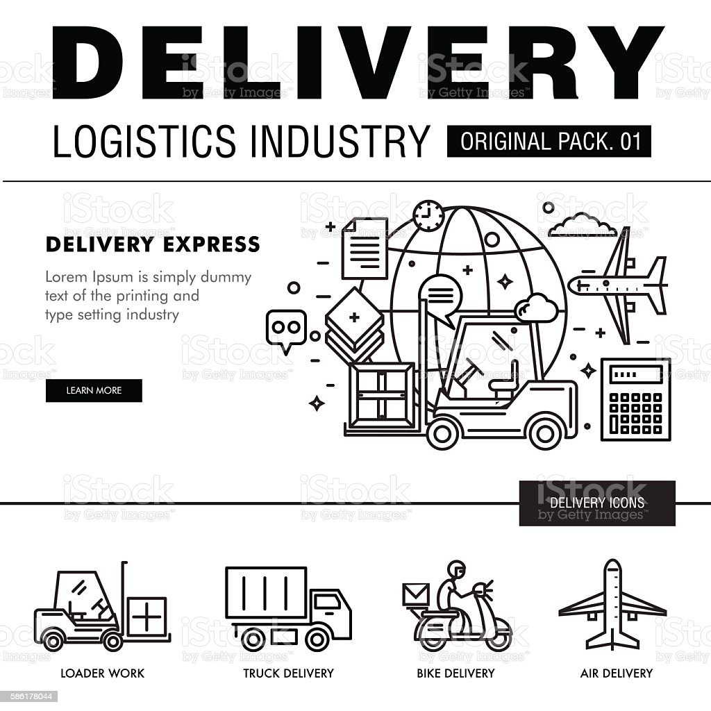 Modern delivery industry pack. Thin line icons set logistic netw vector art illustration