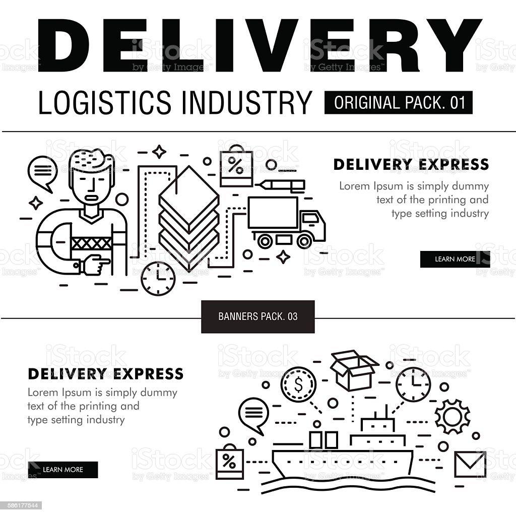 Modern delivery industry pack. vector art illustration