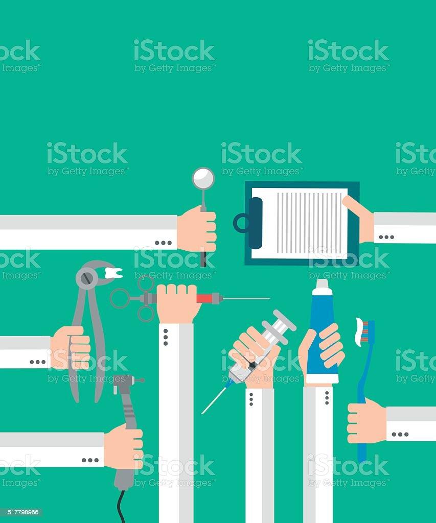 Modern Dental  flat set design concept with hands vector art illustration
