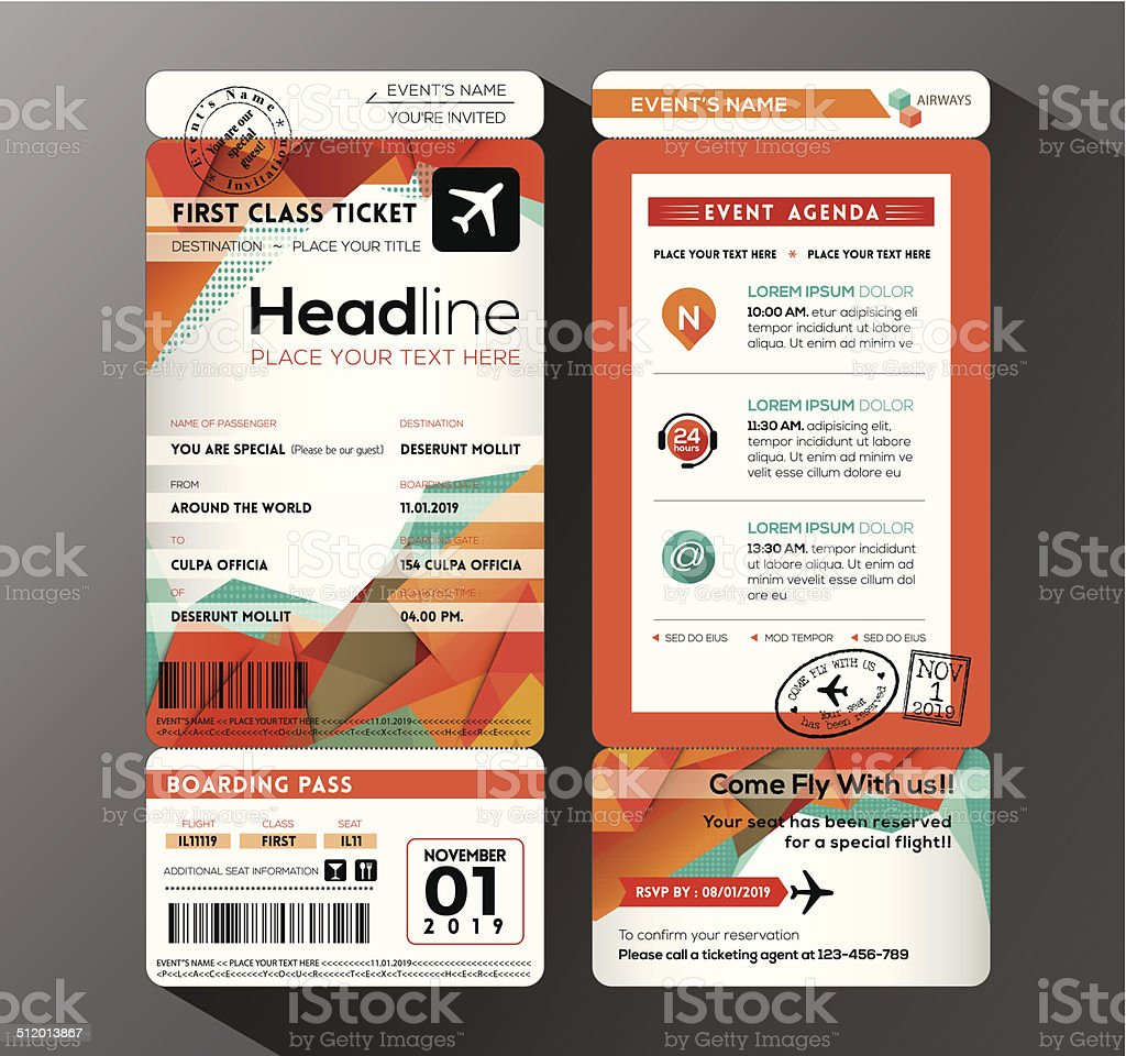 Modern design Boarding Pass Ticket Event Invitation card vector vector art illustration