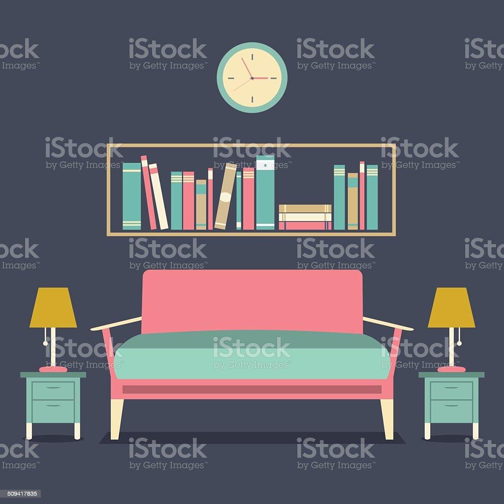 Modern Design Interior Sofa and Bookshelf vector art illustration