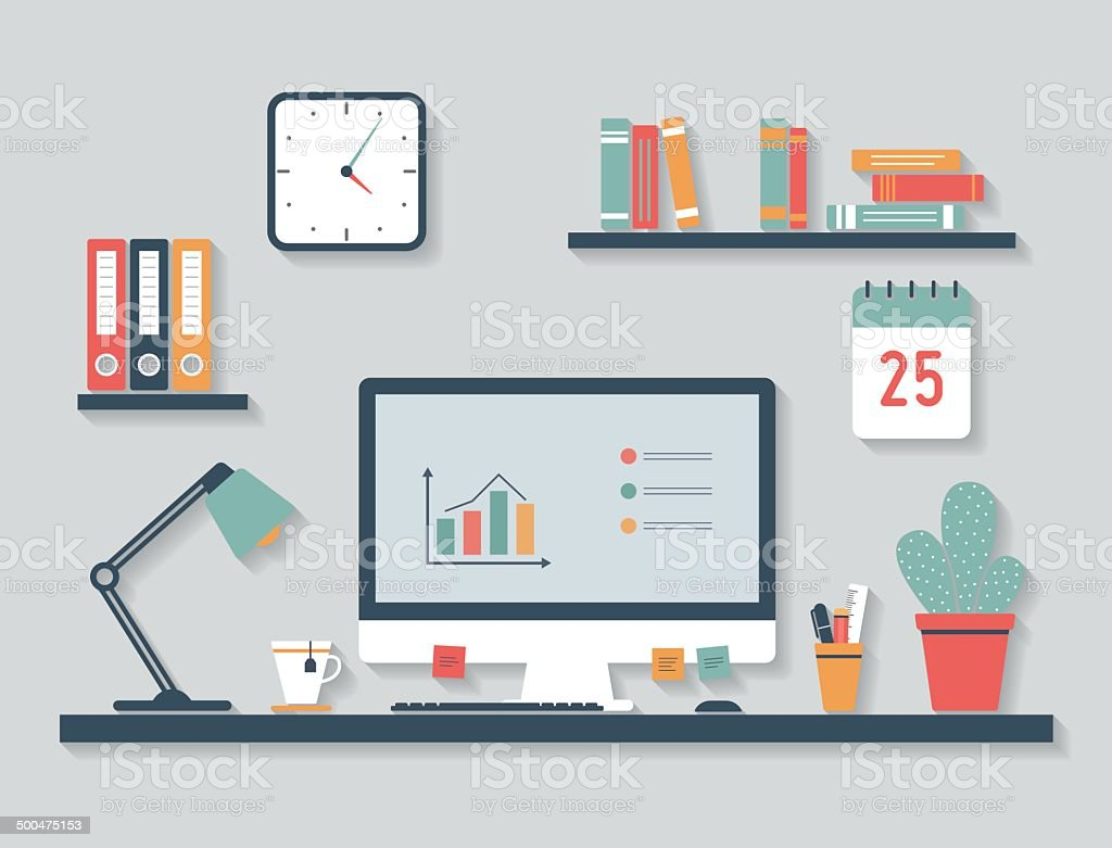 Modern desktop, flat design vector art illustration