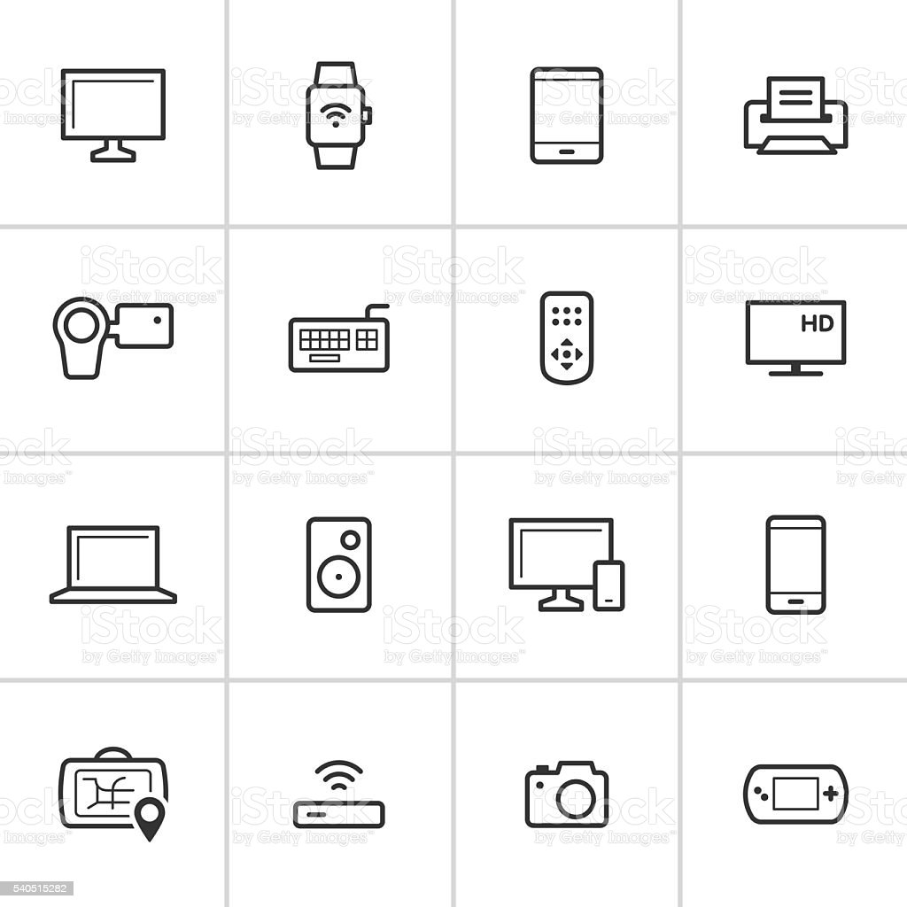 Modern Device Icons — Inky Series vector art illustration