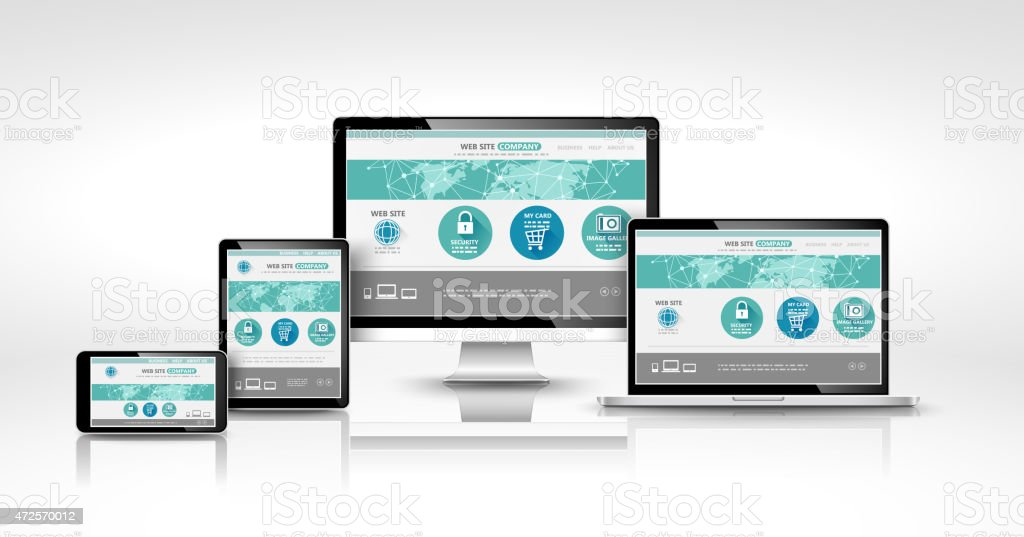 Modern devices with web design vector art illustration