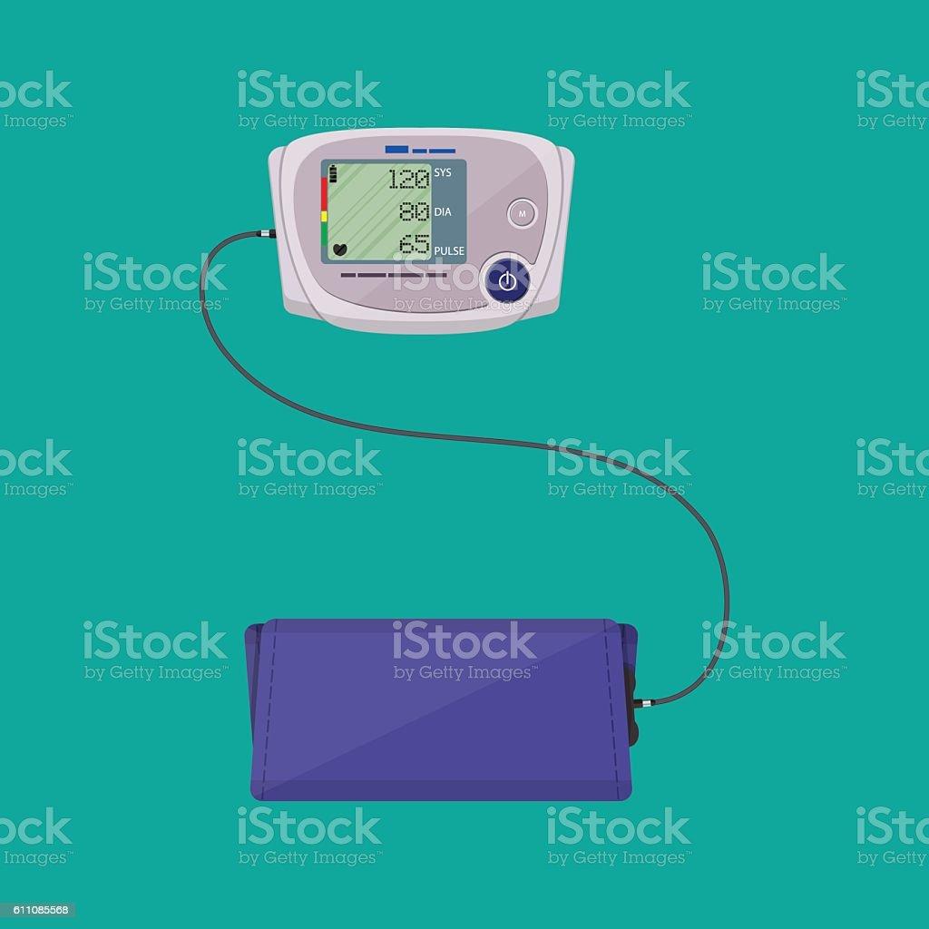 modern digital blood pressure measuring vector art illustration