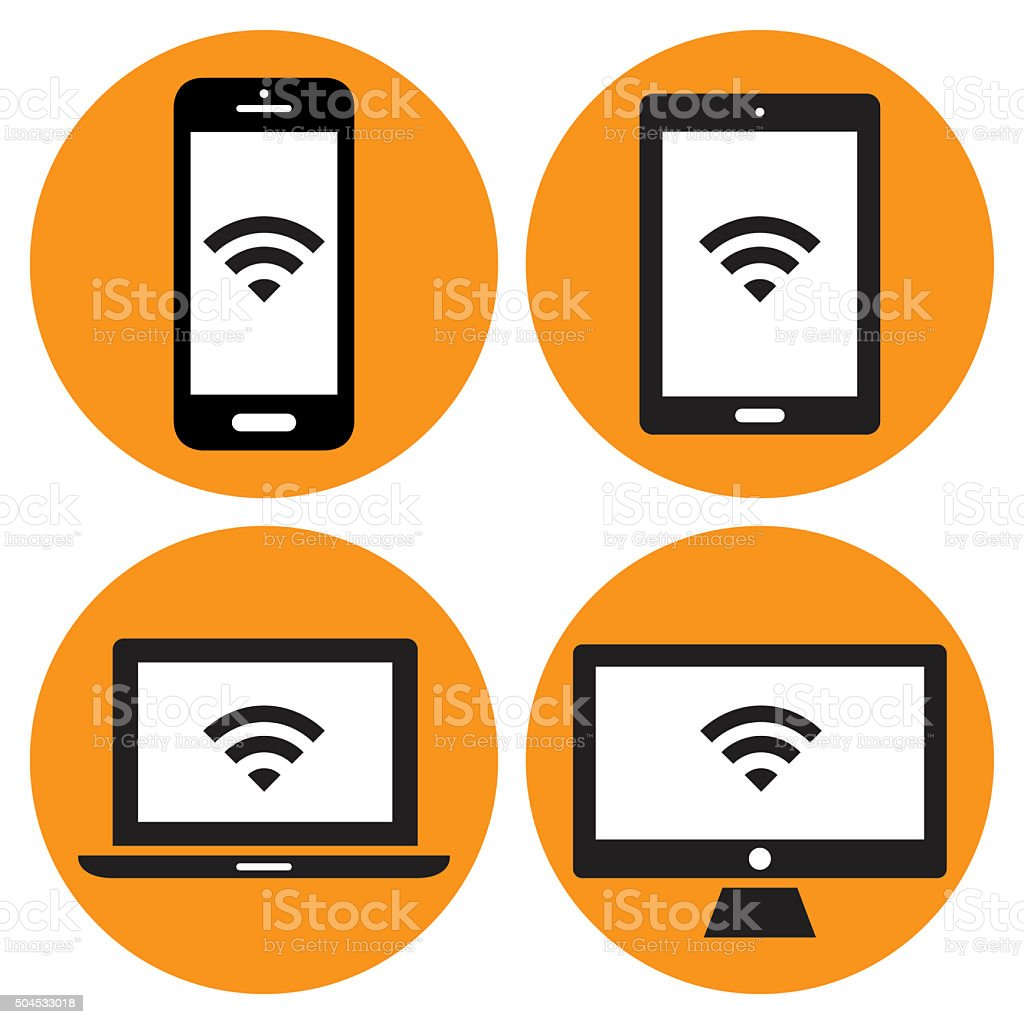 Modern Digital devices icons vector art illustration