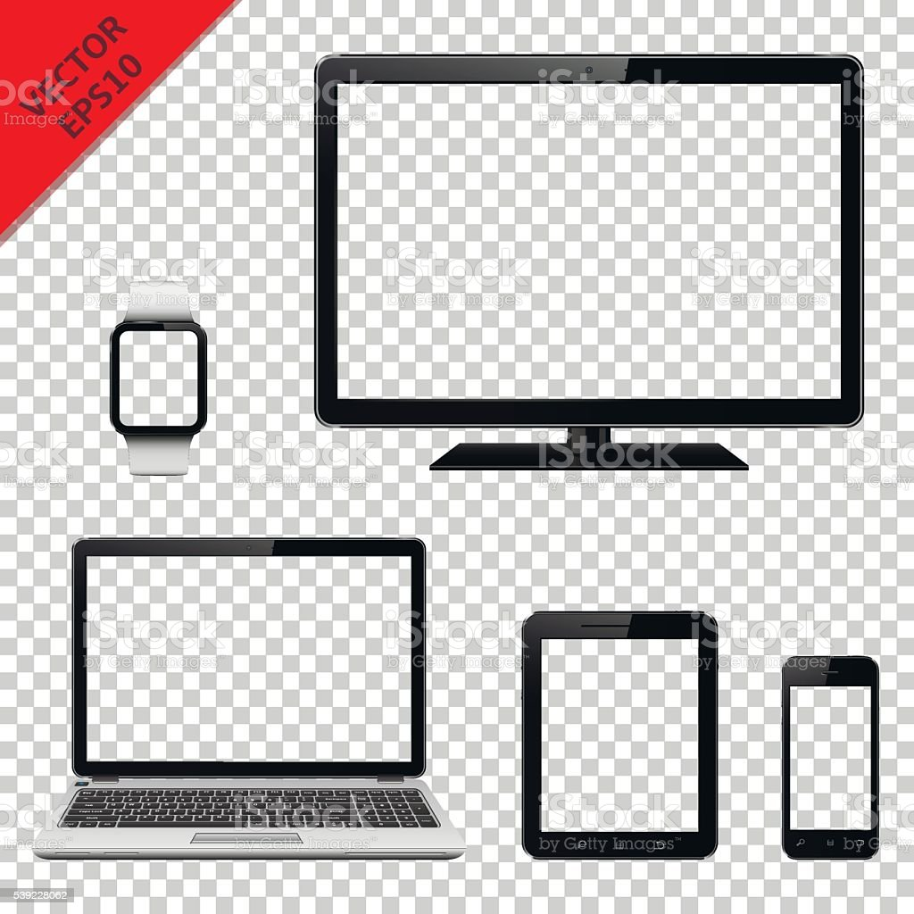 Modern digital devices with transparent screen vector art illustration