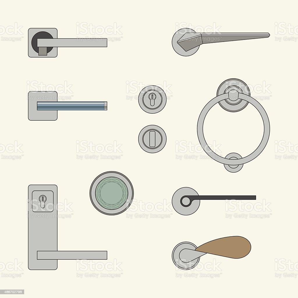 Modern door handles vector art illustration