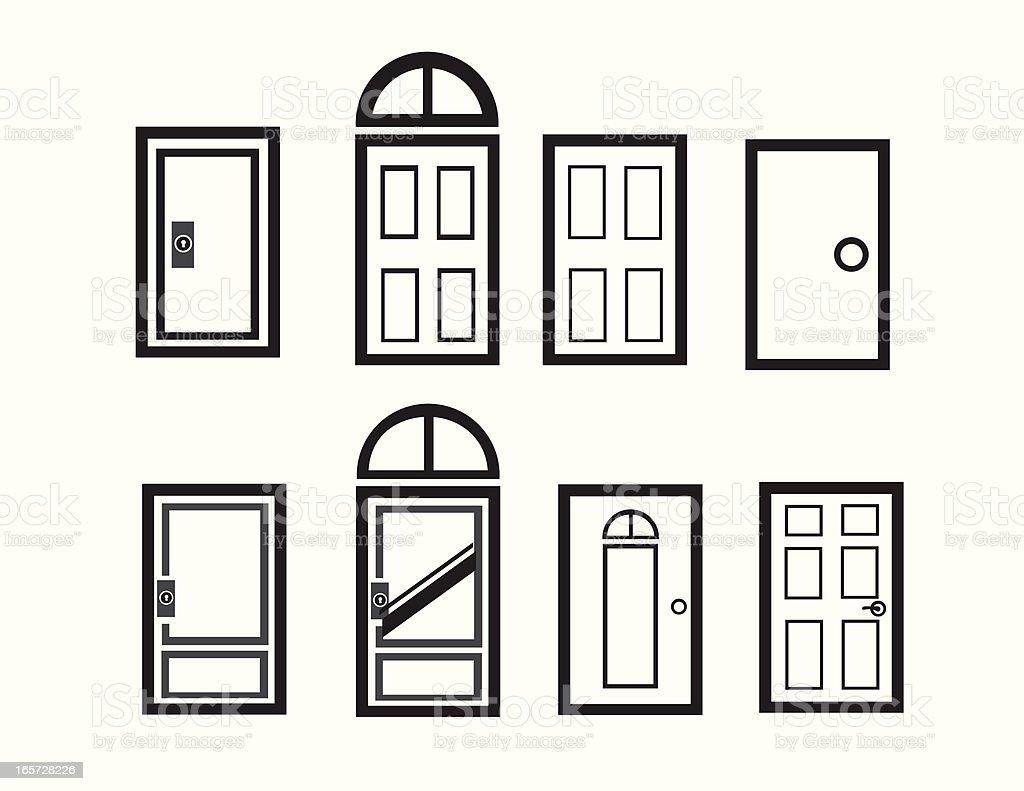 Modern Doorway Icons vector art illustration