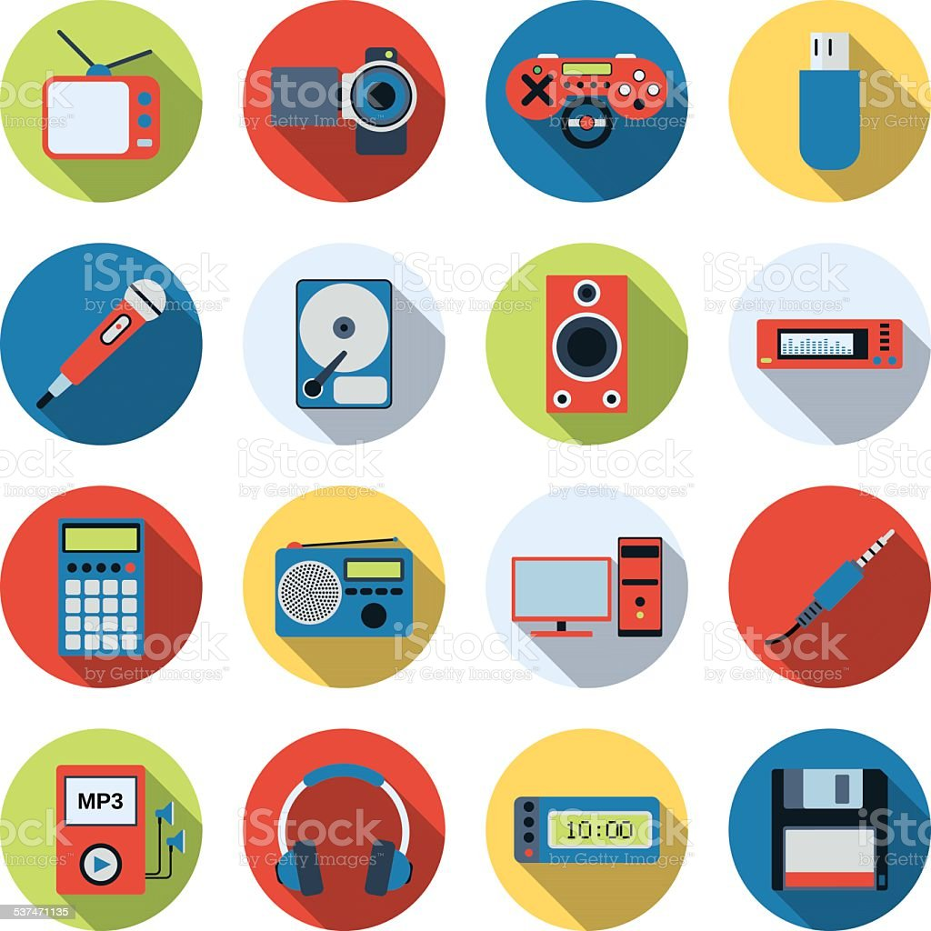 Modern electronic icons vector art illustration