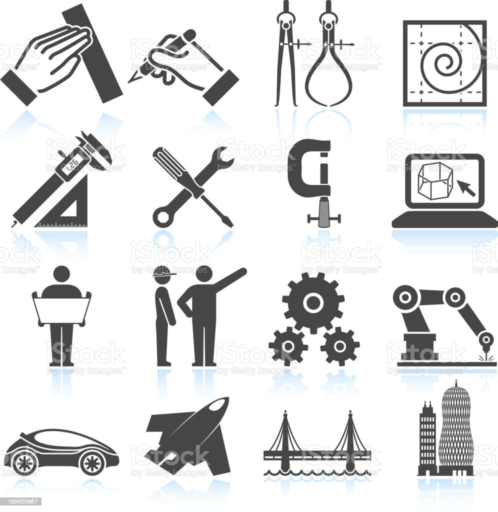 Modern Engineering Architecture and Construction black & white icon set vector art illustration