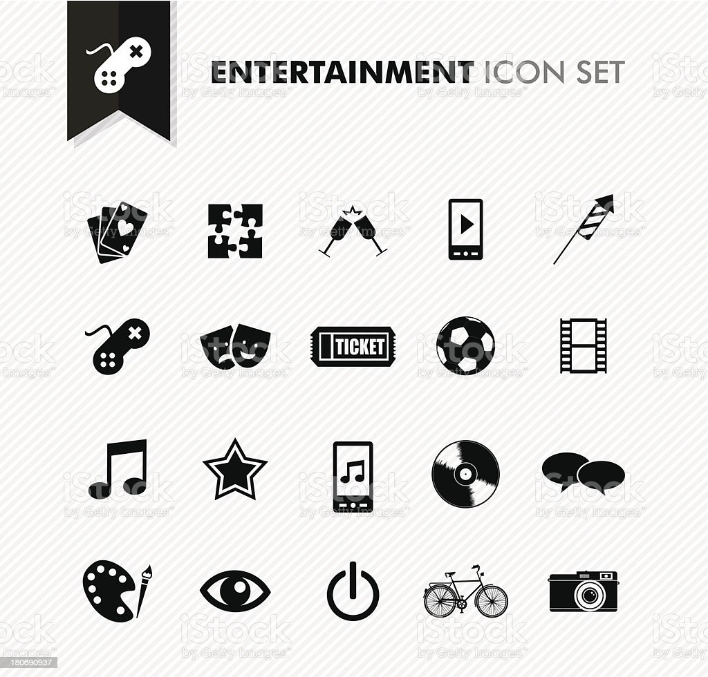 Modern entertainment leisure and fun icon set. vector art illustration