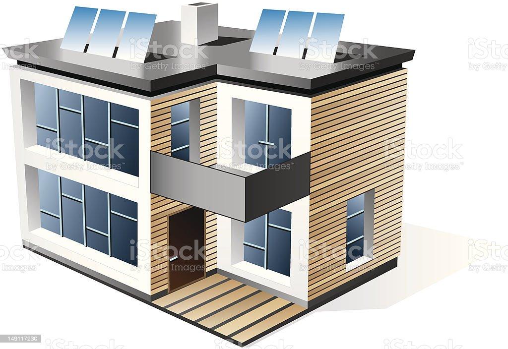 Modern family house vector art illustration