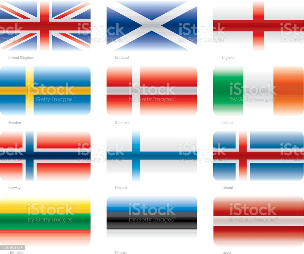 Modern flags set - North Europe royalty-free stock vector art