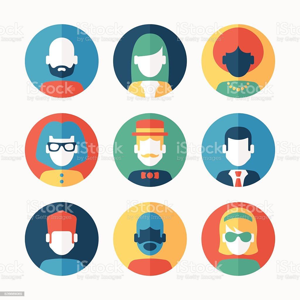 Modern Flat Avatars vector art illustration
