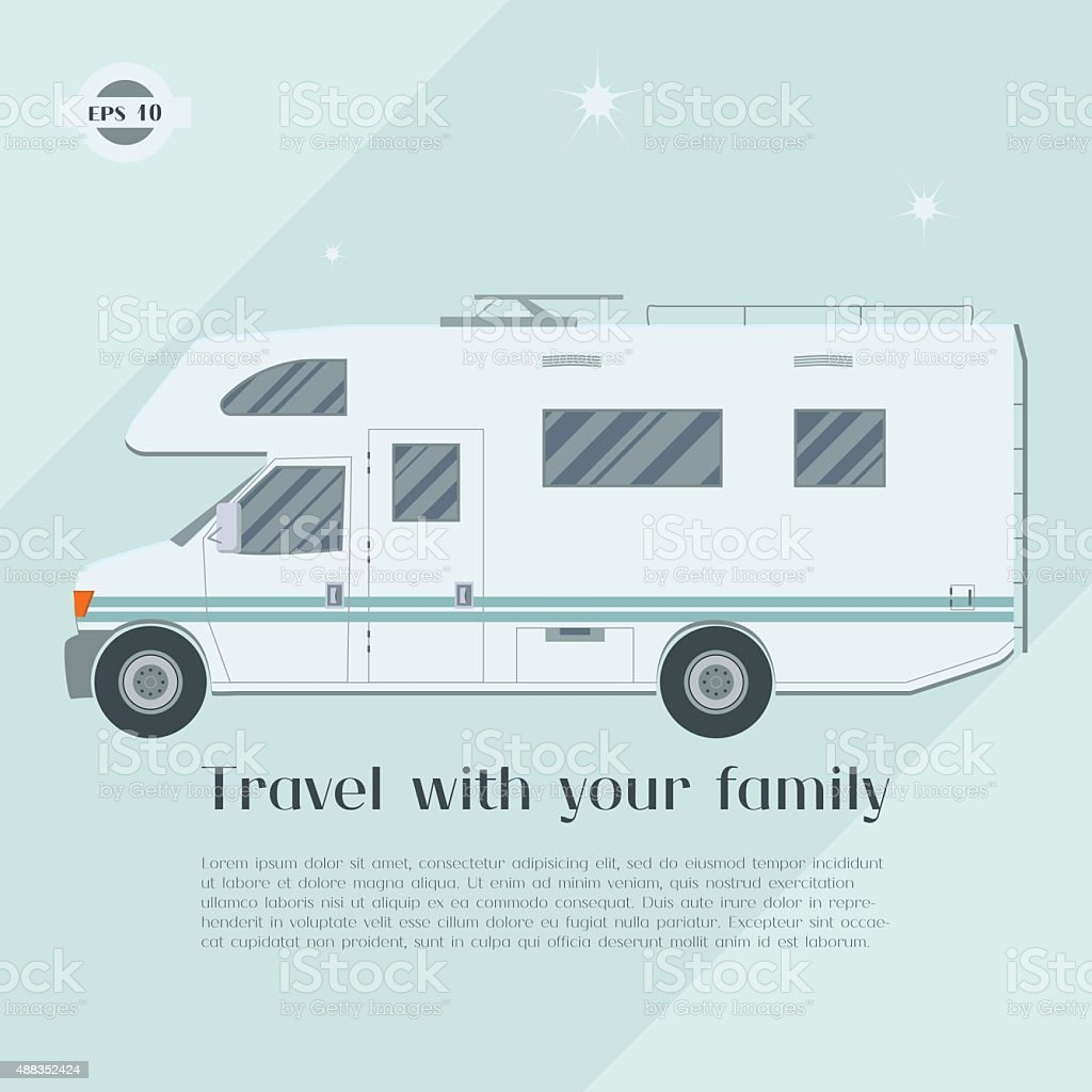 Modern flat camper van. vector art illustration