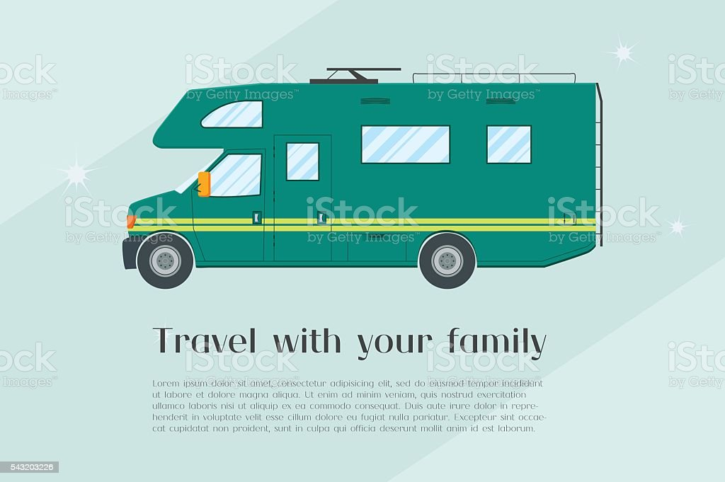 Modern flat camper van vector art illustration