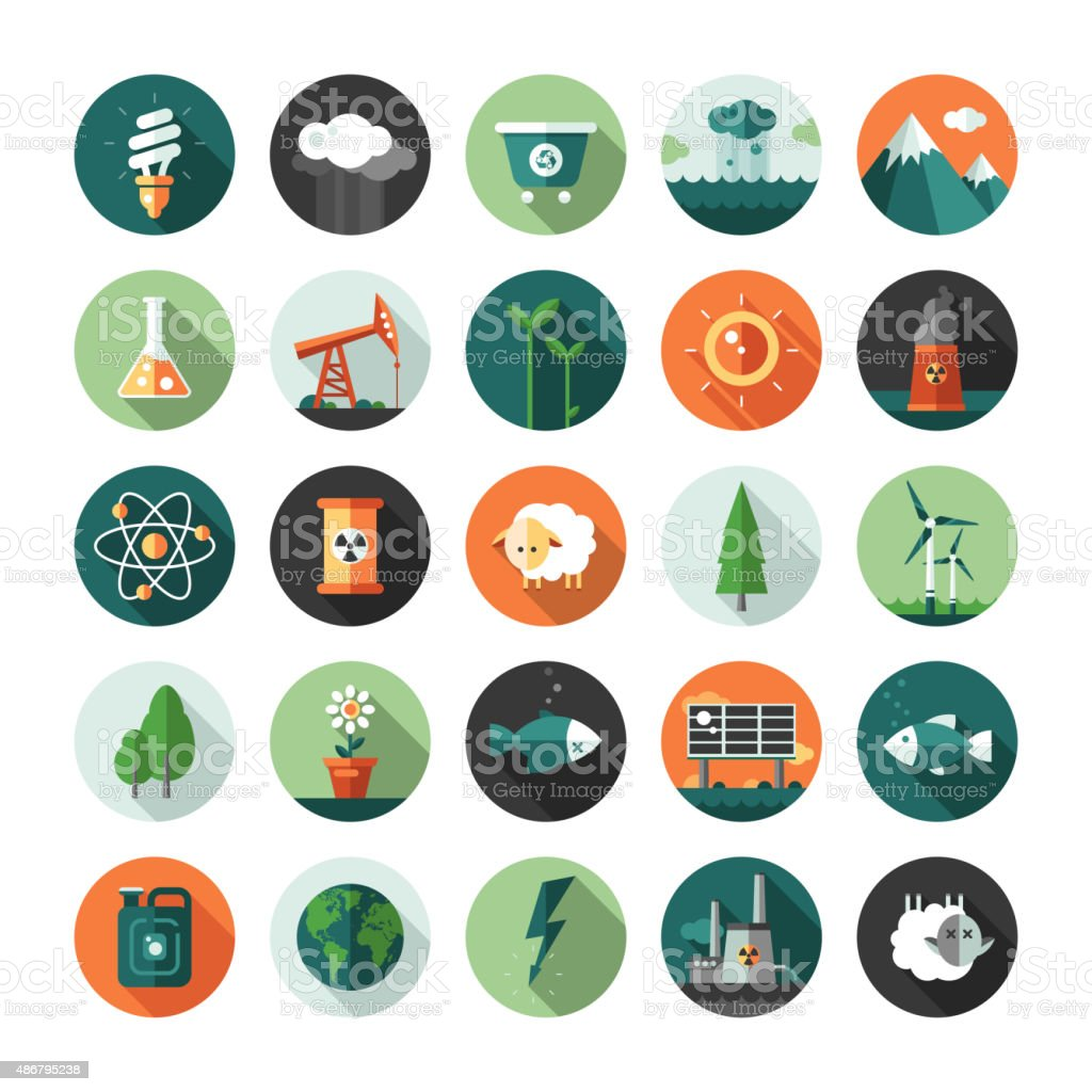 Modern flat design conceptual ecological icons and infographics elements vector art illustration