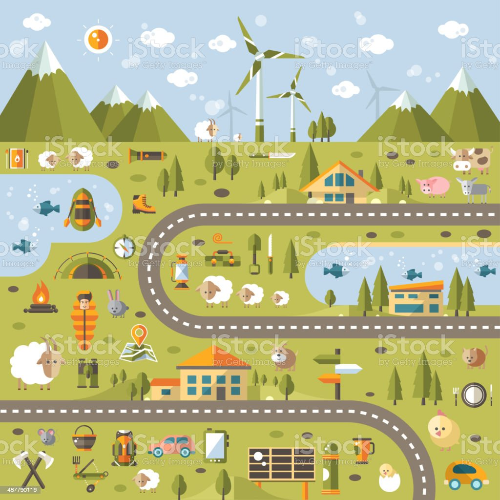 Modern flat design conceptual landscape illustration with info graphic elements vector art illustration