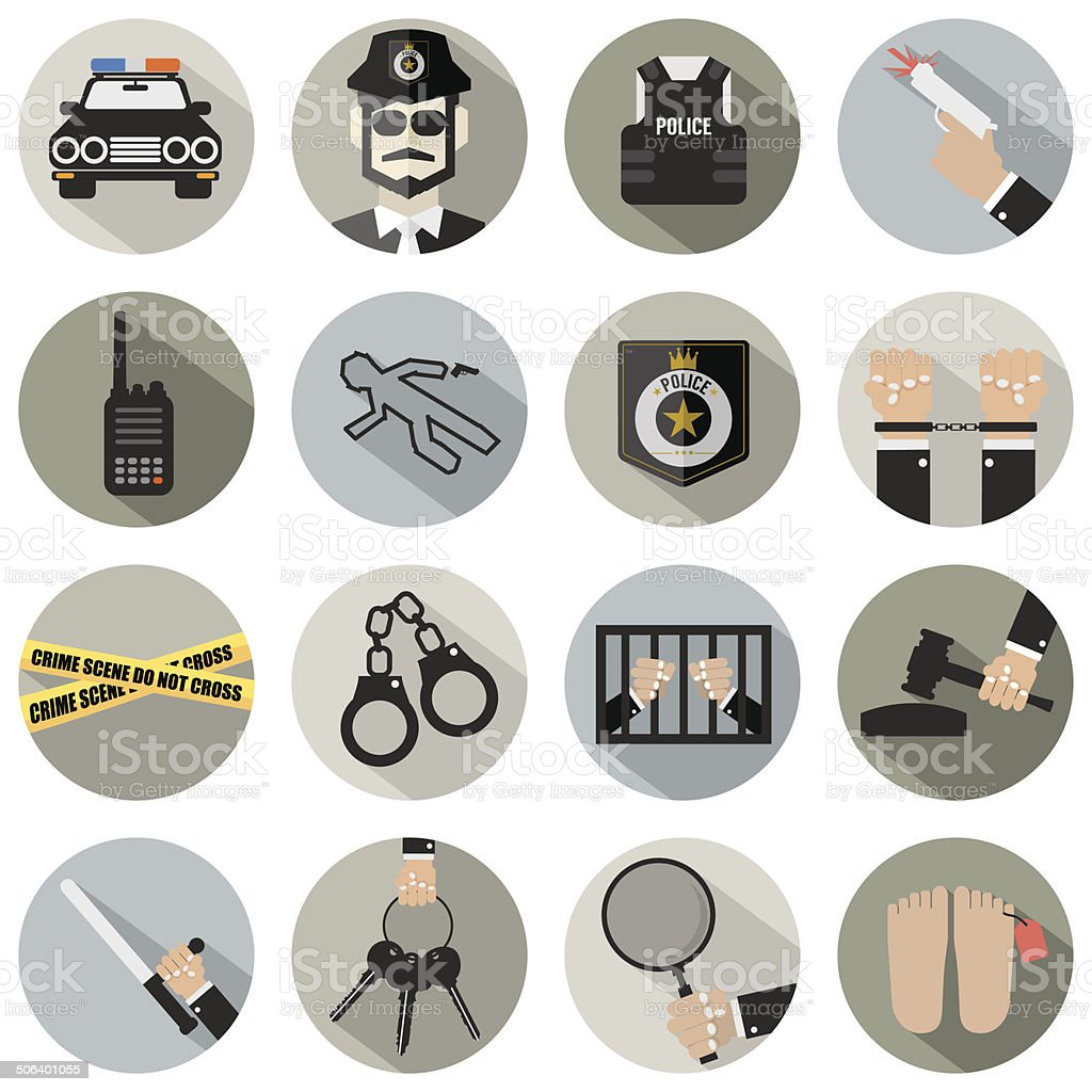 Modern Flat Design Police And Law Icon Set vector art illustration