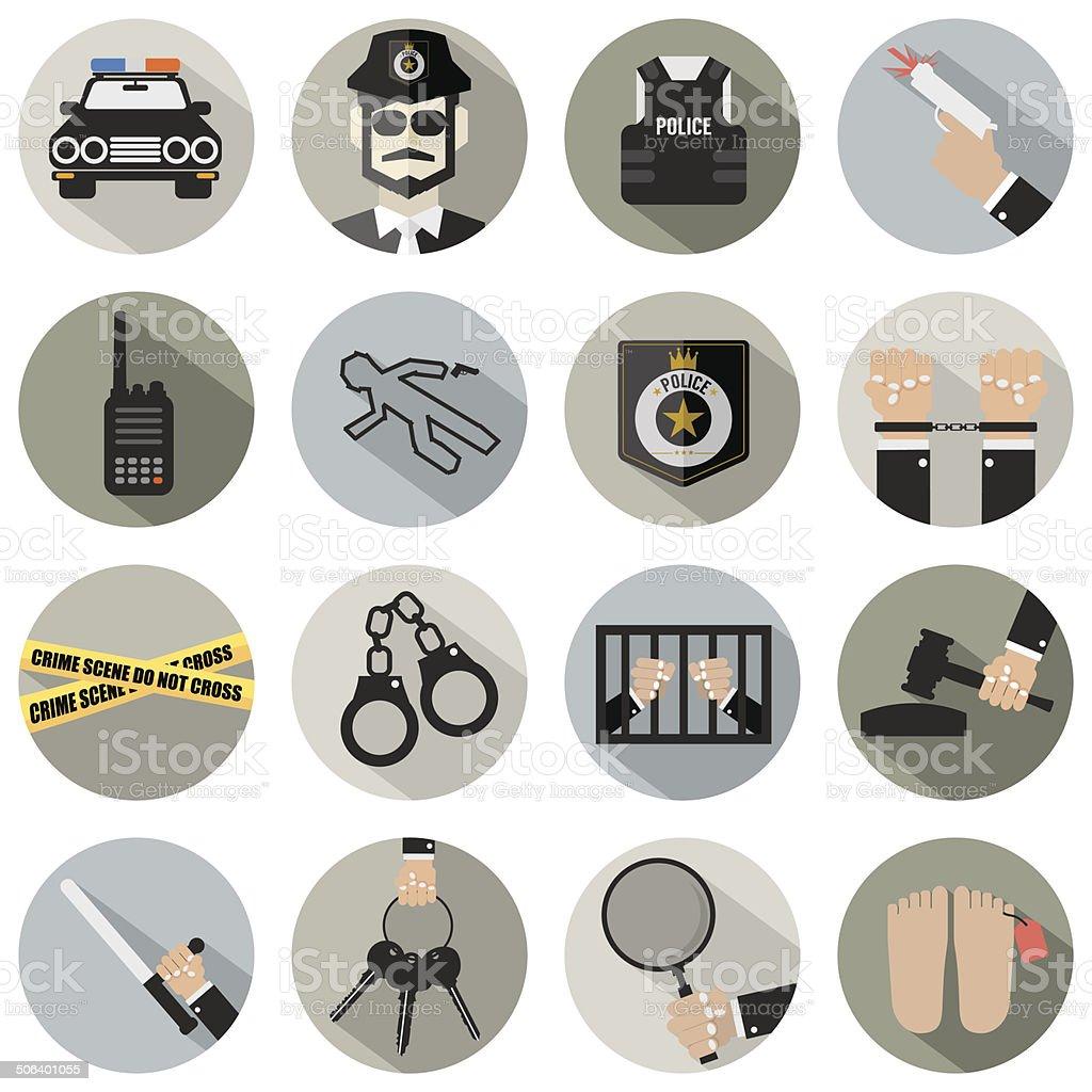 Modern Flat Design Police And Law Icon Set vector art illustration