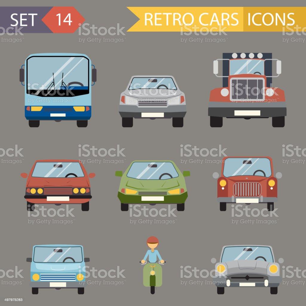Modern Flat Design Symbols Stylish Retro Car Icons Set Isolated vector art illustration