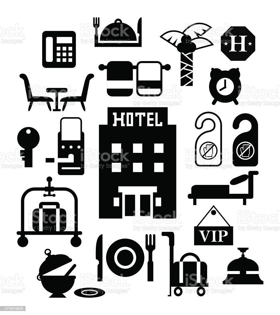 Modern flat design vector icons for hotel service in black vector art illustration