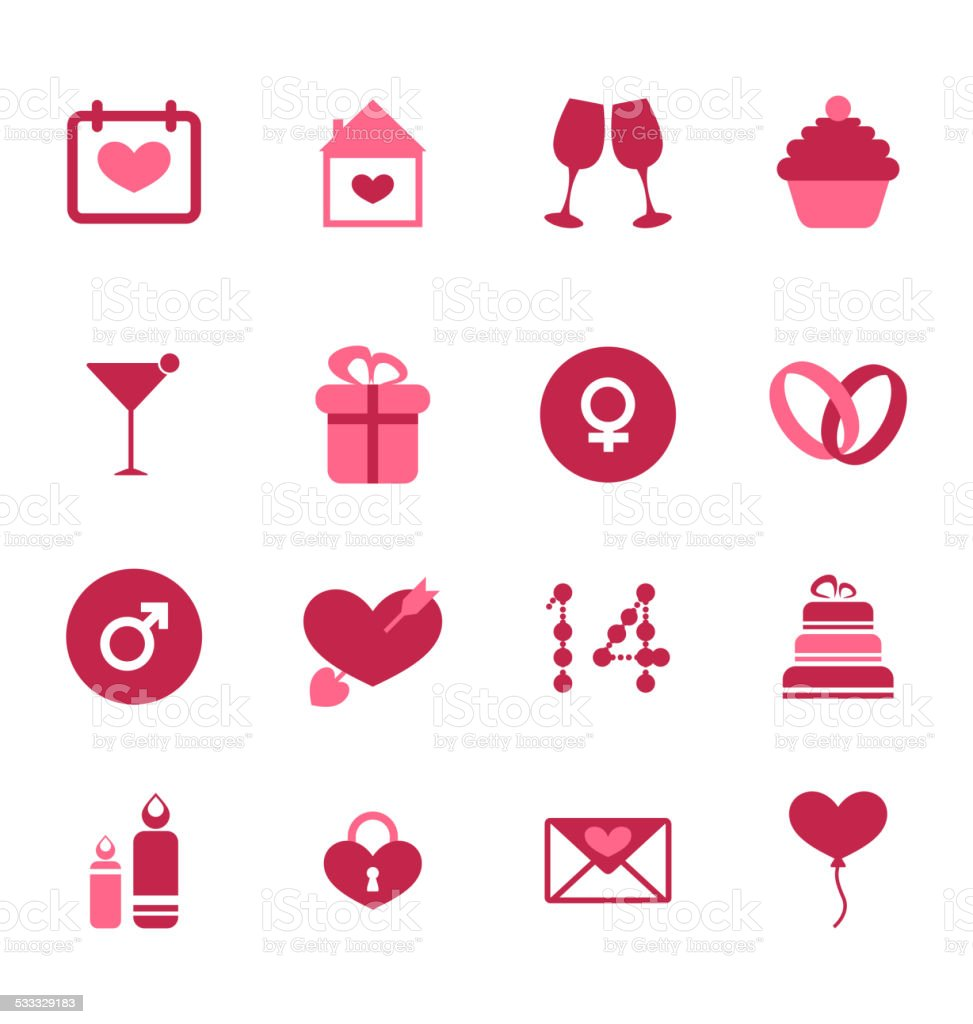 Modern flat icons for Valentines Day, design elements, isolated vector art illustration