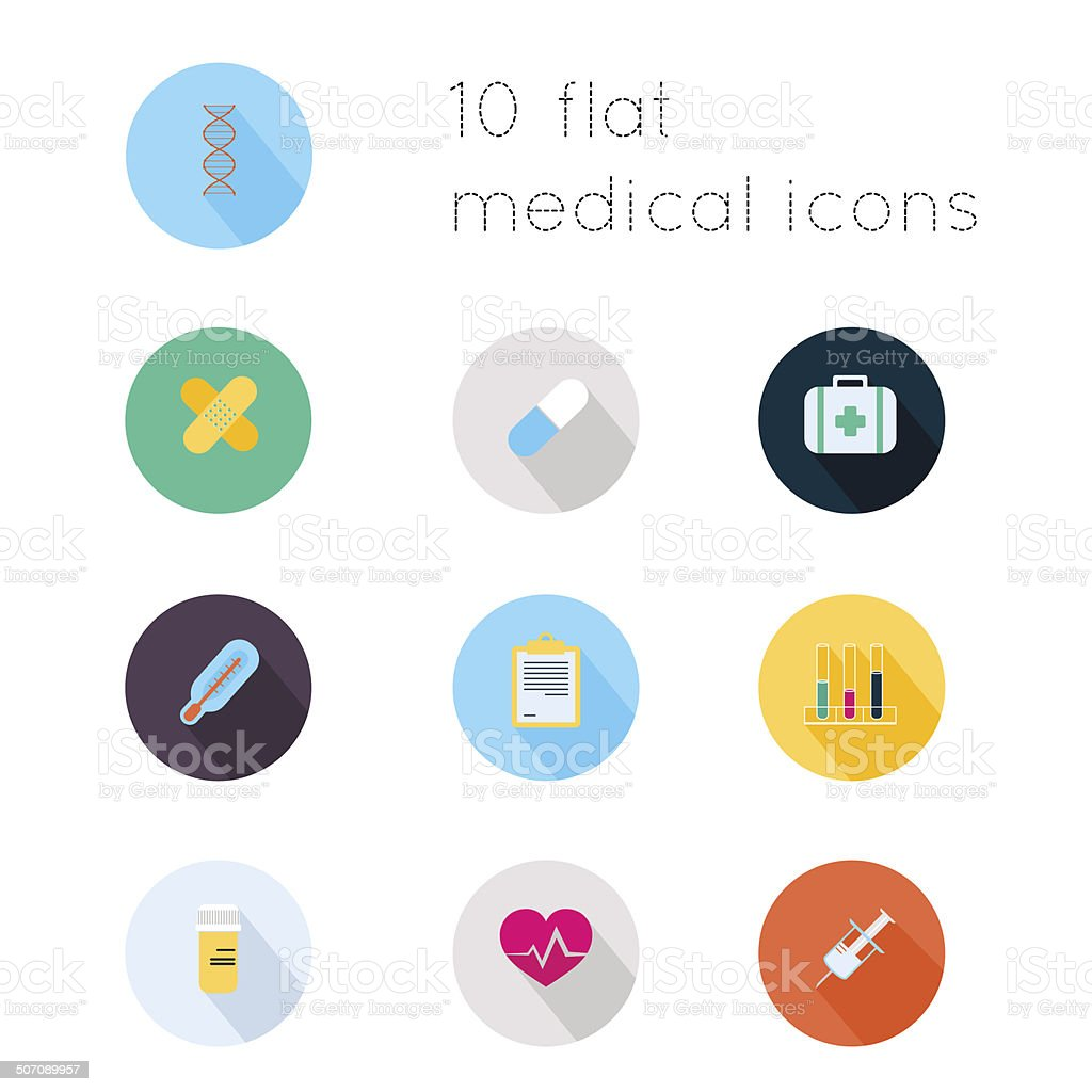 Modern flat icons of medical theme vector art illustration