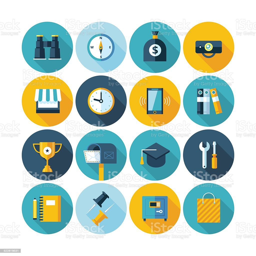 Modern flat icons vector collection with long shadow effect. vector art illustration