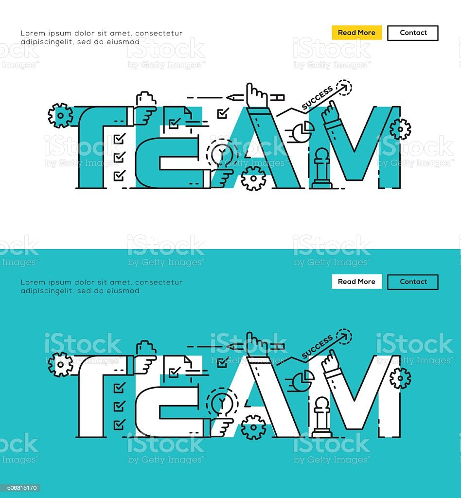 Modern Flat line design concept of Teamwork vector art illustration