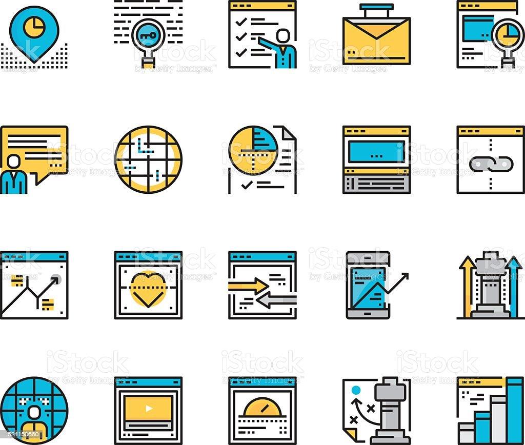 Modern Flat line icon concept of Seo Marketing vector art illustration