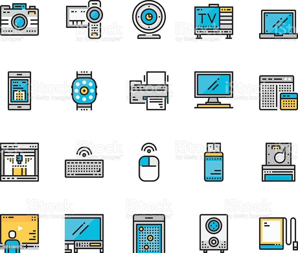 Modern Flat line icon concept of Technology and Device vector art illustration