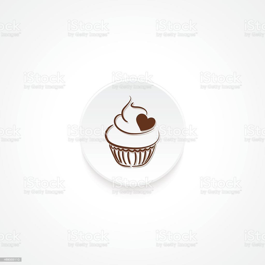 Modern Flat Round icon With Shadow And Cupcake vector art illustration