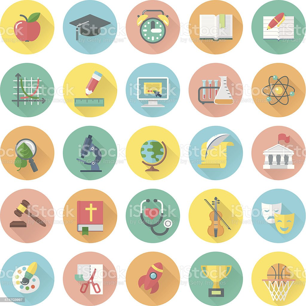 Modern flat round icons of school subjects and education symbols vector art illustration