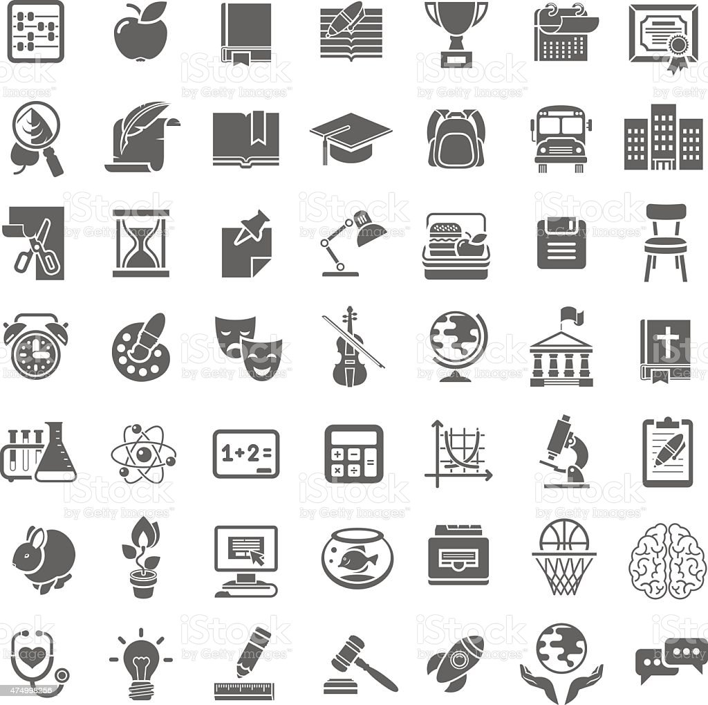 Modern Flat School Icons Outline Monochrome Silhouettes vector art illustration