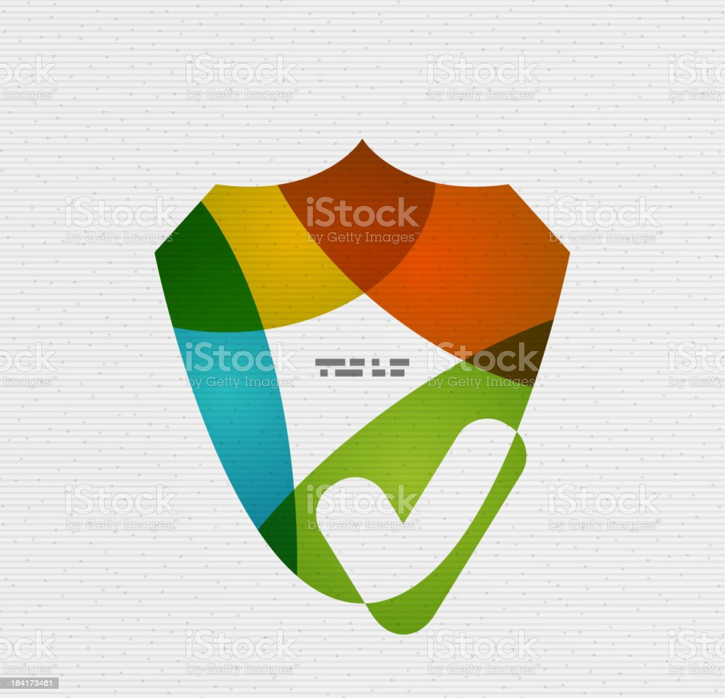 Modern flat shield with checkmark design royalty-free stock vector art