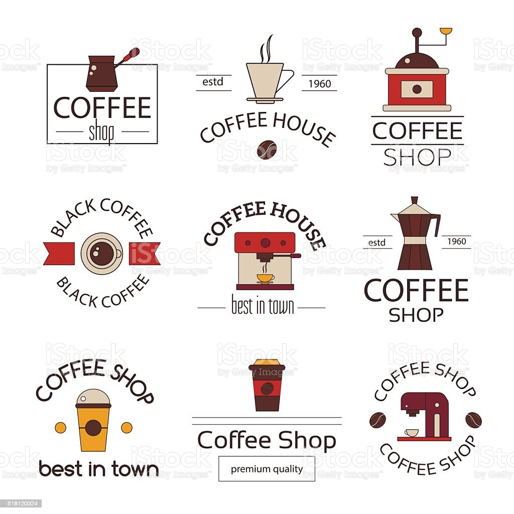 Modern flat thing line coffee  labels and badges set vector art illustration