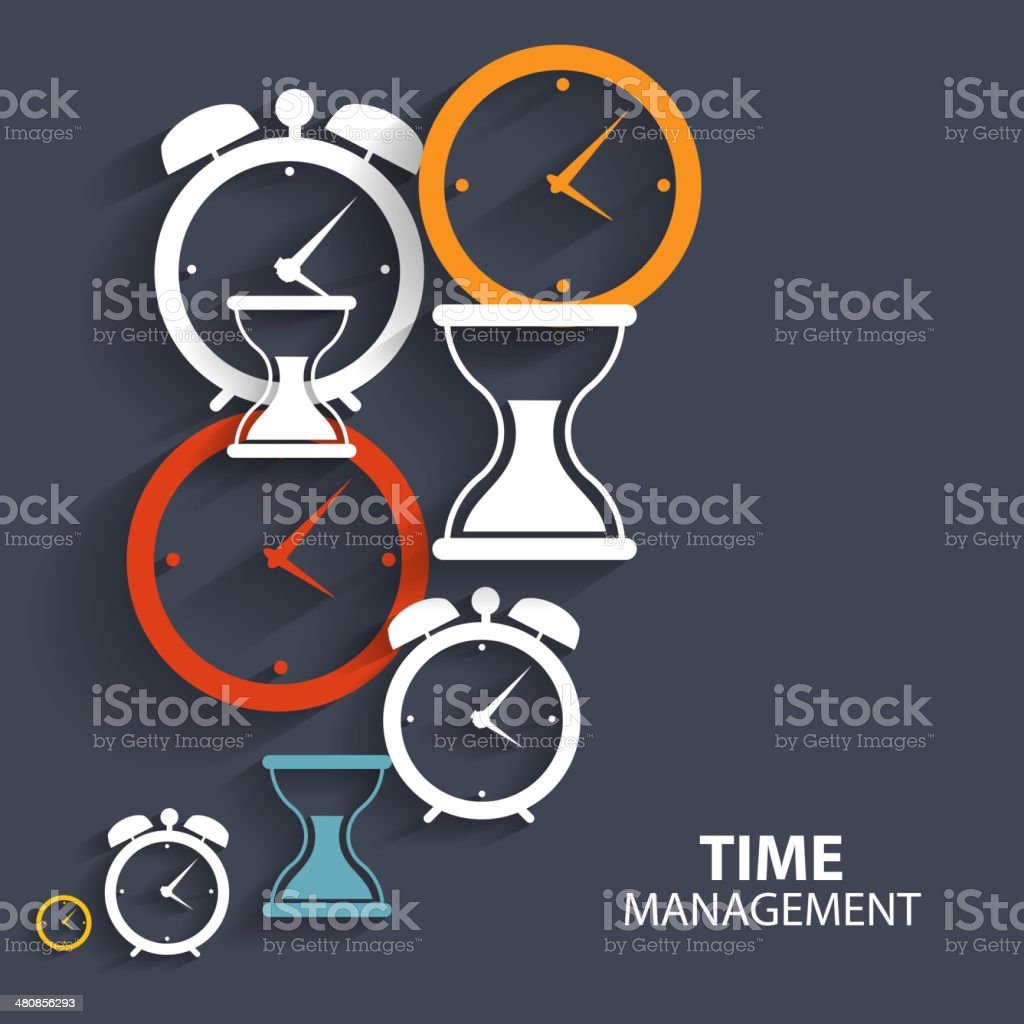 Modern Flat Time Management Vector Icon for Web vector art illustration
