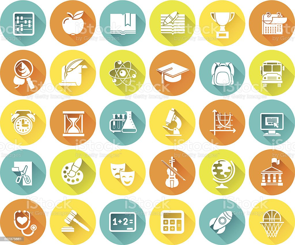 Modern Flat White Silhouette Round School Icons with Long Shadows vector art illustration