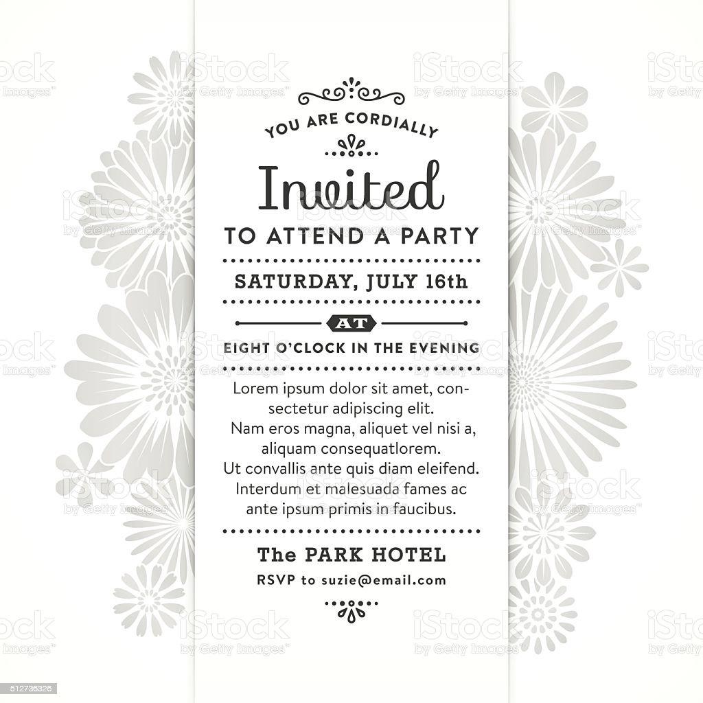 Modern Floral Party Invitation vector art illustration