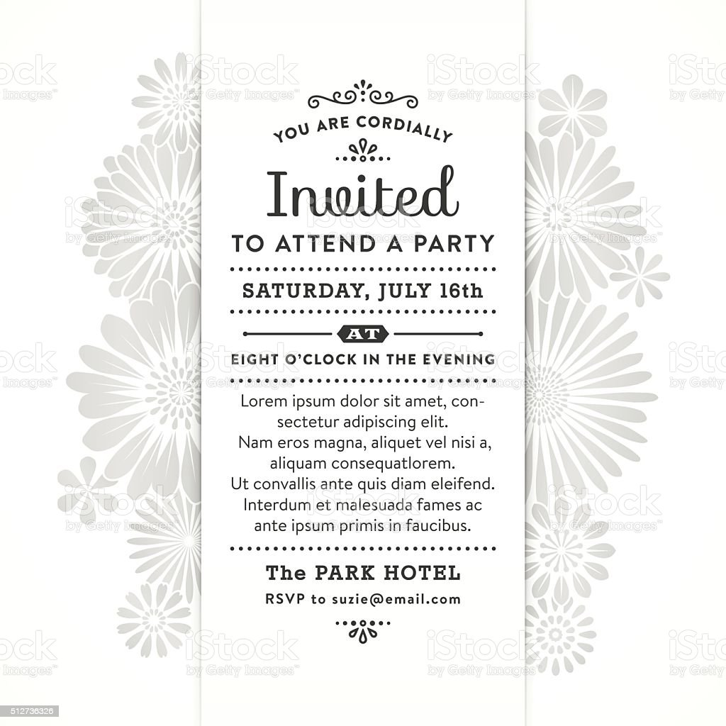 Modern Floral Party Invitation vector art illustration