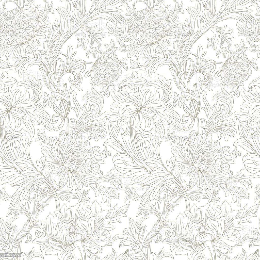 Modern floral seamless pattern for your design.   Print on textile vector art illustration