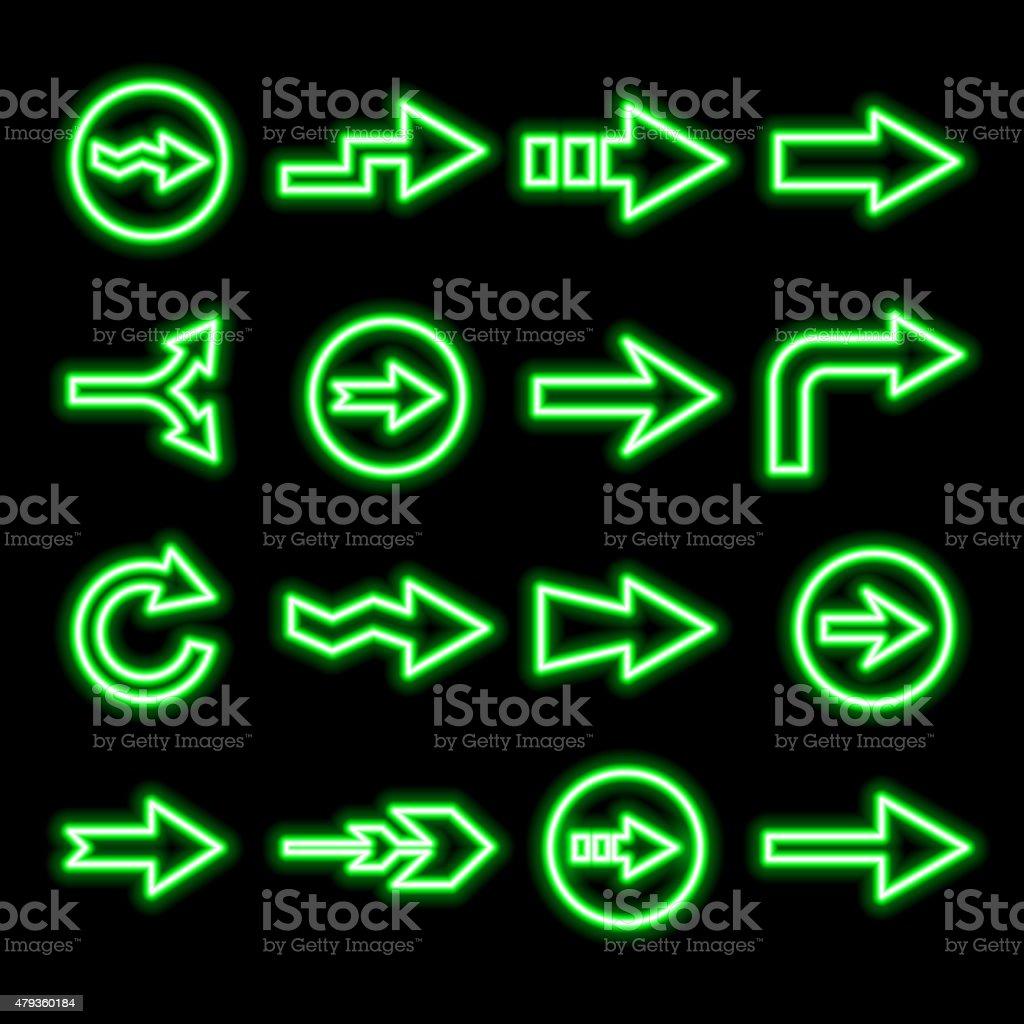 modern fluorescent green arrows set vector art illustration